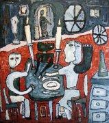 Hostina, 1999, silikon na plátně, 135 x 120 cm