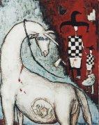 Zabíjení jednorožce, 2000, silikon na plátně, 150 x 120 cm