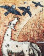 Modří létavci, 2000, silikon na plátně, 150 x 120 cm
