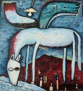 Pijící pegas, 2003, olej na plátně, 120 x 110 cm