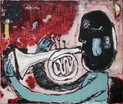 Trumpetista, 2004, olej na plátně, 45 x 50 cm