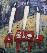Večeření - šeření, 2000, silikon na plátně, 150 x 135 cm