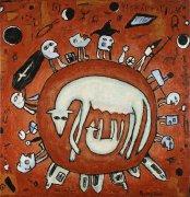 Vlčice, 2001, silikon na plátně, 150 x 145 cm