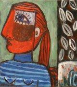 Červený portrét, 50 x 45 cm, olej na plátně, 2010