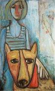 Dívka se psem, 2011, olej na plátně, 90 x 55cm
