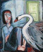 Labuť, 2011, olej na plátně,120 x 100 cm