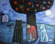 Muž, vlk a pes, 2012, olej na plátně, 120 x 150 cm