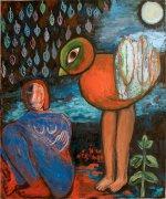 ŽŽena a pták II, 2010, olej na plátně, 150 x 120 cm