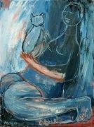Žena s kočkou, 2010, olej na plátně, 80 x 60 cm