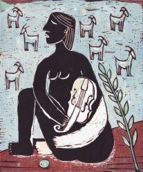 Pastýřka, 2012, linoryt, 30 x 25 cm, 12 tisků
