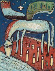 Pijící pegas, 2015, linoryt, 43.5 x 34 cm,