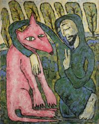Pink wolf , 1998, silicone on board, 100 x 80 cm