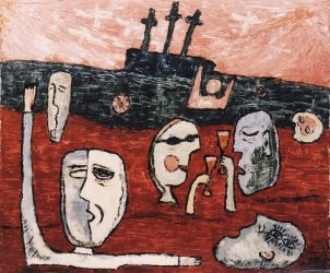 Castaways, 1998, silicone on canvas, 100 x 120 cm