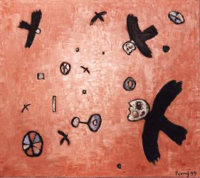 The flying beings, 1999, silicone on canvas, 120 x 135 cm