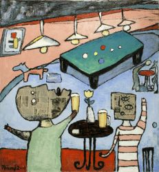 Billiards, 2001, silicone on canvas, 120 x 110cm