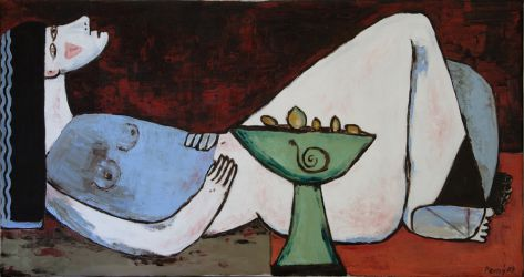 Lying Cleopatra II , 2007 oil on canvas, 80 x 150 cm
