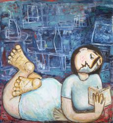 Laying reader , 2009, oil on canvas, 120 x 110 cm