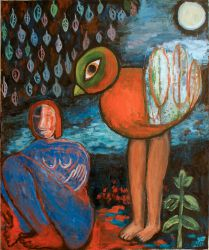 Woman and a bird II, 2010, oil on canvas, 120 x 100 cm