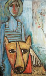 Girl with a dog, 2011, oil on canvas, 90 x 55 cm