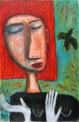 Bird, 2012, oil pastel on cardboard, 57cm x 37 cm