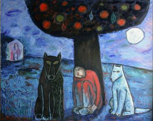Man, wolf and dog, 2012, oil on canvas, 120 x 150 cm