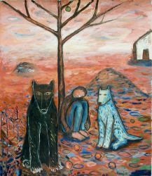 Man, wolf and dog 2, 2012, oil on canvas, 150 x 130 cm