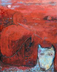 A man accompanying the dog in a red landscape, 2013, oil on canvas, 100 x 80 cm